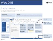 Snabbstartsguide för Word 2013