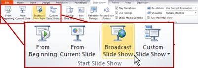 ออกอากาศการนำเสนอภาพนิ่ง ในกลุ่ม เริ่มการนำเสนอภาพนิ่ง บนแท็บ การนำเสนอภาพนิ่ง ใน PowerPoint 2010