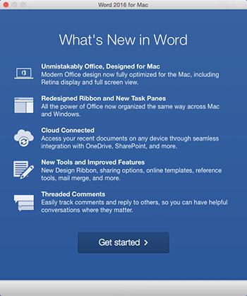 หน้าจอ มีอะไรใหม่ เมื่อคุณเริ่มใช้งานแอป Office เป็นครั้งแรกหลังการติดตั้ง