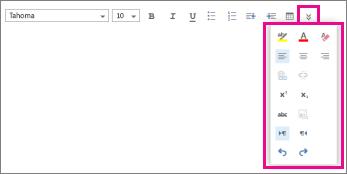 Thanh công cụ định dạng thư hiển thị tùy chọn mở rộng.