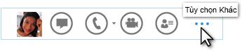 Ảnh chụp màn hình của menu Truy nhập Nhanh Lync hiển thị Thêm Tùy chọn