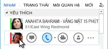 Ảnh chụp màn hình menu Truy nhập Nhanh Lync với biểu tượng điện thoại được tô sáng