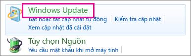 Nối kết Windows Update trong Pa-nen Điều khiển