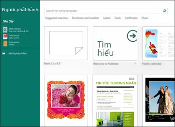 Ảnh chụp màn hình của mẫu bắt đầu trong Publisher.