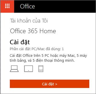 Trang Tài khoản của Tôi trong Office Store hiển thị nút Cài đặt