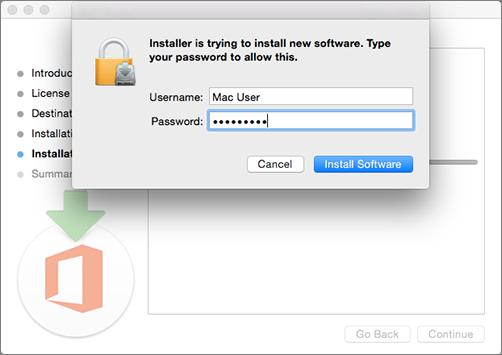 Nhập mật khẩu người quản trị của bạn để bắt đầu cài đặt