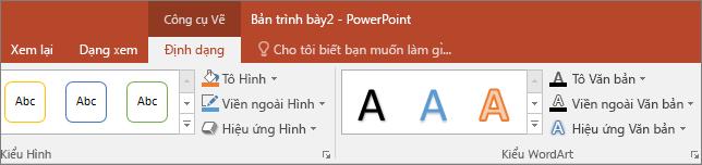 Hiển thị tab công cụ vẽ trên ribbon trong PowerPoint