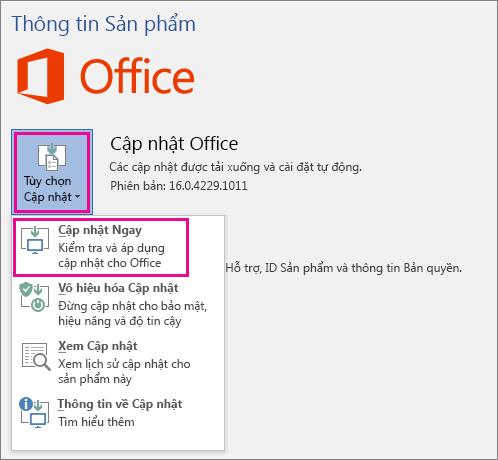Kiểm tra cập nhật Office trong Word 2016 theo cách thủ công