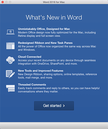 Màn hình Có gì Mới khi bạn khởi động ứng dụng Office vừa cài đặt lần đầu