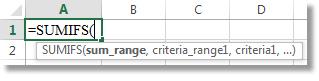 Dùng Công thức AutoComplete để nhập hàm SUMIFS