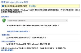 Windows 8 控制台中的 Windows Update 設定