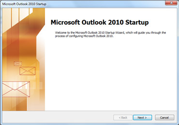 نافذة بدء التشغيل في Outlook 2010