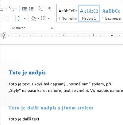 Wordové styly