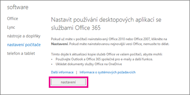 Nastavení používání desktopových aplikací s Office365