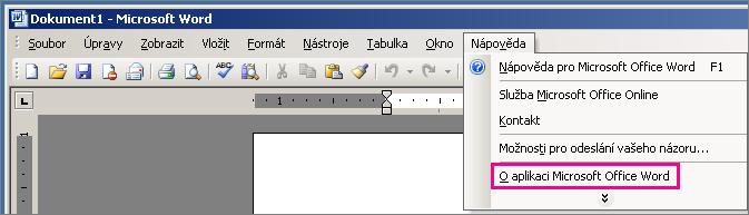 Nápověda > O aplikaci Microsoft Office Word ve Wordu 2003
