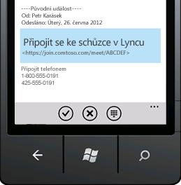 Snímek obrazovky ukazující, jak se připojit ke schůzce v Lyncu z mobilního zařízení