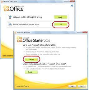 První použití sady Office Starter