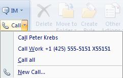 Odpověď na e-mail pomocí aplikace Lync 2010 prostřednictvím zavolání v aplikaci Outlook 2007