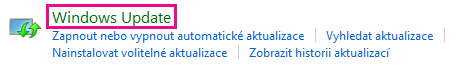 Odkaz Windows Update v ovládacích panelech Windows 8
