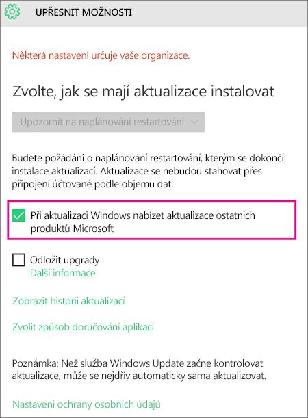 Upřesnění možností Windows Update