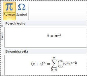 Předformátované rovnice v seznamu rovnic