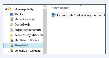 Umístění synchronizovaných knihoven webu ve složce SharePoint v oblíbených položkách