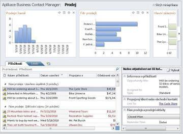 Pracovní prostor Prodej v aplikaci Business Contact Manager bez pásu karet a navigačního podokna