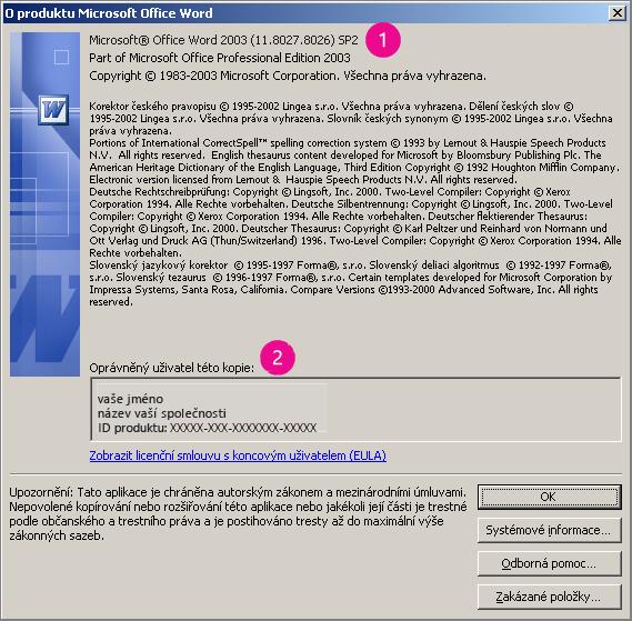 Okno O aplikaci Microsoft Office Word 2003