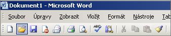 Hlavní nabídka ve Wordu 2003