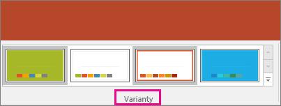 Zobrazuje varianty motivu PowerPointu.