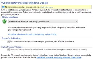 Nastavení služby Windows Update v ovládacích panelech Windows 8