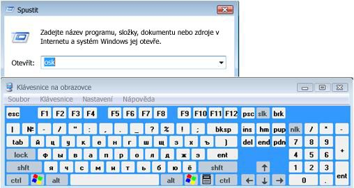 Klávesnice na obrazovce
