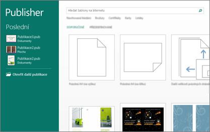 Snímek obrazovky se šablonami na úvodní obrazovce Publisheru