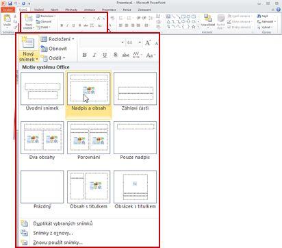 Zobrazení skupiny Snímky na kartě Domů v aplikaci PowerPoint 2010