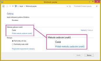Přidání metody zadávání znaků v Office 2016 ve Windows 8