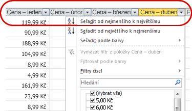 Automatické filtry zobrazené v záhlaví sloupců tabulky aplikace Excel