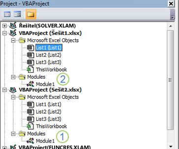 Průzkumník projektu jazyka VBA