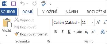 Karta Domů ve Wordu 2013, Wordu 2016 a Wordu RT