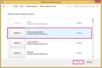 Nové metody zadávání znaků v Office 2016 ve Windows 8