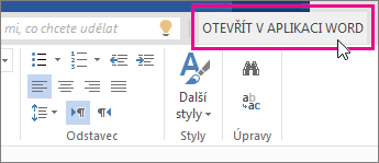 Tlačítko Otevřít v aplikaci Word v zobrazení pro úpravy ve Wordu Online