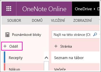 Snímek obrazovky s postupem, jak ve OneNotu Online vytvořit nový oddíl
