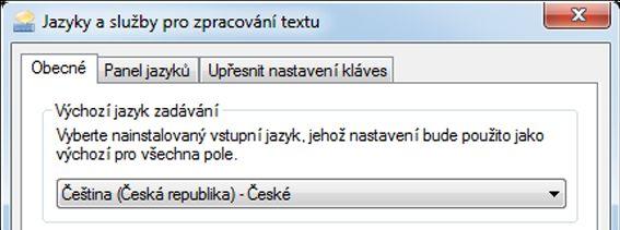 Dialogové okno Textové služby a vstupní jazyky