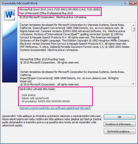 Okno O aplikaci Wordu 2010