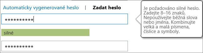 Zobrazuje požadavky na heslo, pokud zadáte heslo.