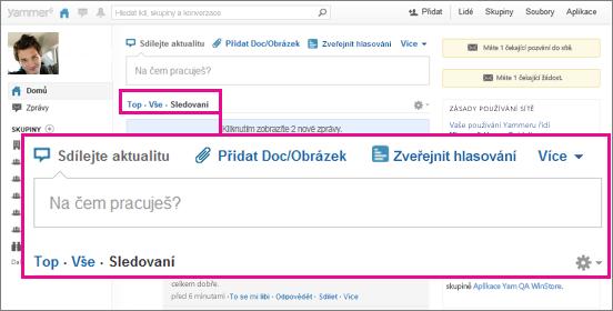 Snímek obrazovky webu Yammeru s růžovým polem zvýrazňujícím přepínání zobrazení Hlavní, Všechny a Sledování