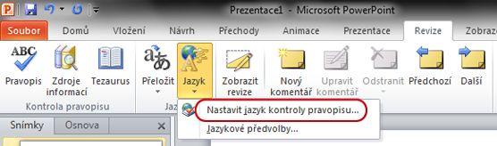 Pás karet aplikace PowerPoint s položkou Nastavit jazyk na kartě Revize