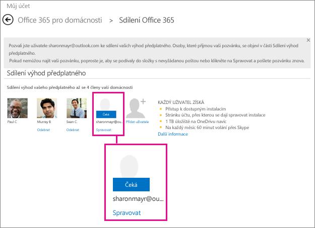 Snímek obrazovky stránky Office 365 pro sdílení s vybraným uživatelem, čeká na vyřízení sdíleného předplatného.