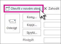 Tlačítko pro otevření odpovědi v novém okně v podokně čtení