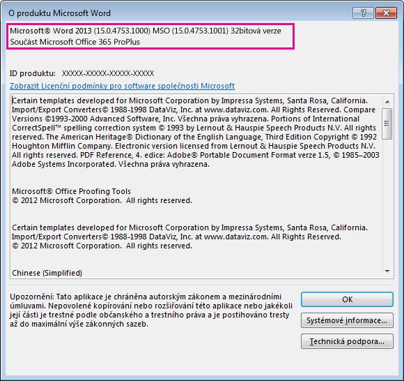 Okno O aplikaci Microsoft Word