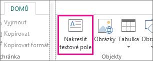Snímek obrazovky s možností Nakreslit textové pole v Publisheru
